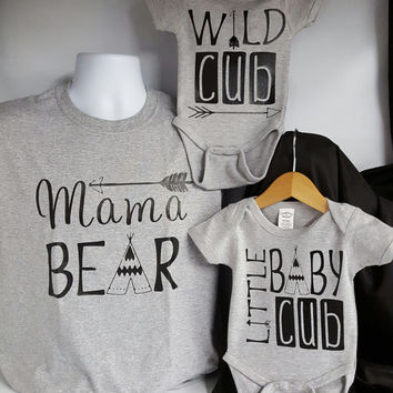 Family Bear shirts mama,papa,baby cub,wild cub bear shirts.family photos,sold in set or indivudual