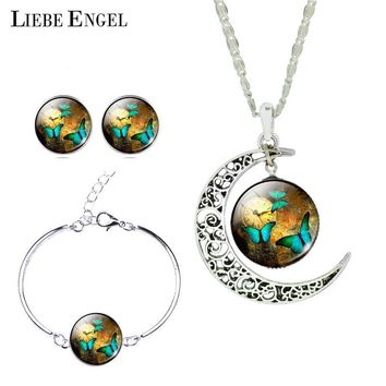 Romantic Christmas Gift Vintage Silver Color Jewelry Sets Butterfly Picture Necklace Stud Earrings Bracelet Set For Women
