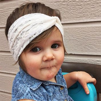 Baby Girls Top knot Turban Headband Cute Kids Toddler Lace Bow Hair Accessories Elastic Hair Bands Head Wraps Baby Headband