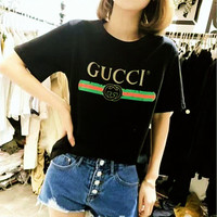 GUCCI fashion short sleeve loose women T-shirt tee top blouse black