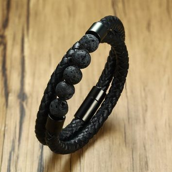 Male Volcano Lava Stone Beads and Double Wrap Braided Leather Bracelet in Black Stainless Steel Magnetic Buckle Men Jewelry 38cm