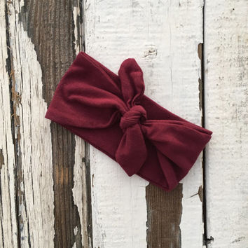 Baby Girl Head Band | Maroon Headband For Baby Girl | Burgandy Hair Bow | Gift For Baby | Baby Bandana Head Wrap | Boho Baby