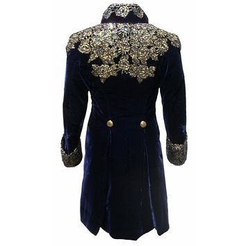 Jareth the Goblin King Navy Blue Velvet Halloween Costume For Men Rhinestones Party Suit Jackets Appliques Tailcoats Blazer