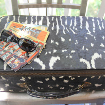 60's Vintage Vinyl Animal Print Suitcase  - Retro Black & White Zebra Print Luggage