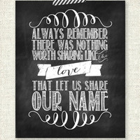 """The Avett Brothers - Always remember there was nothing worth sharing like the love that let us share our name - CHALKBOARD - 8"""" x 10"""" Print"""