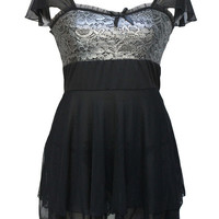 Black with Silver Floral Lace Accent Tiered Mesh Mini Dress