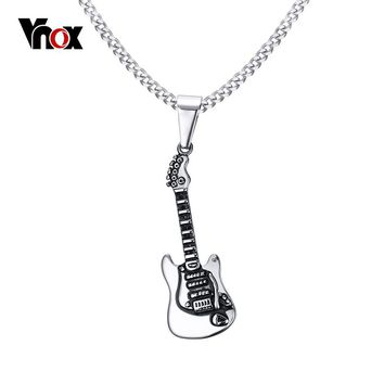 Vnox Rock Punk Guitar Necklace Men Jewelry Stainless Steel Male Necklaces & Pendants Chain 24""