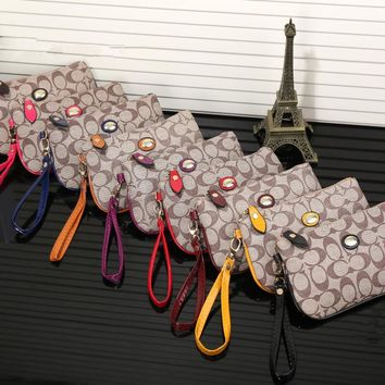 """Coach"" Women Casual Purse Fashion Print Zip Clutch Wristlet Bag Wallet"