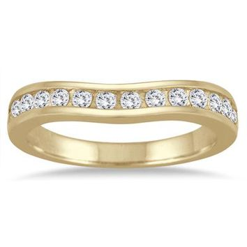 1/2 Carat Diamond Channel Set Curved Band in 10K Yellow Gold