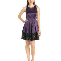 Taylor Dresses Womens Satin Dress with Sequin Hem