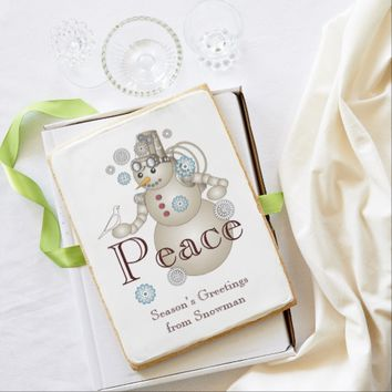 Peace - White Dove and Steam-punk Snowman Jumbo Cookie