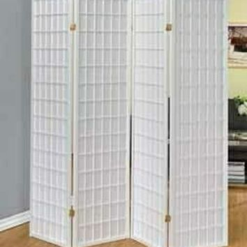 4 panel white finieh wood room divider shoji screen