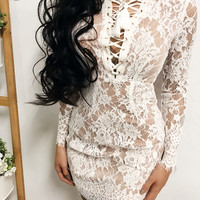 Ashley Lace Laced Up Dress