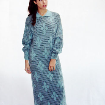 wool sweater dress maxi oversize one size fits most, shirt dress, Made in Finland