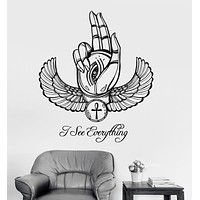 Vinyl Wall Decal Ancient Egypt Eye of Horus Ra Hand Talisman Stickers Unique Gift (ig3604)