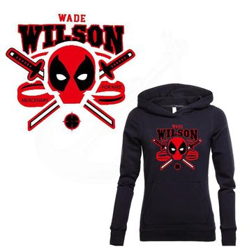 Deadpool Dead pool Taco 2016 NEW HERO  Stickers 27*25cm Iron On Patches DIY T-shirt Sweater Heat transfer Patch for clothing AT_70_6