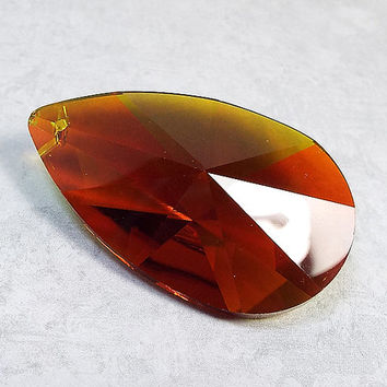 Teardrop Pendant AB Dark Orange Faceted Glass 50 mm x 29 mm Large Jewelry Making Focal Component