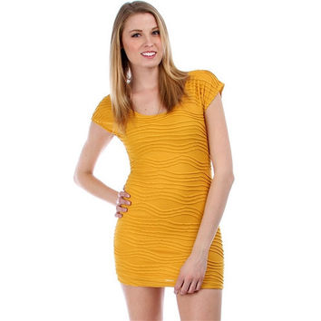 Mustard Textured Fitted Dress