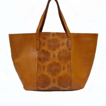 Stamped Leather Tote