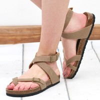 Ankle Wrap Bork Sandals {Taupe}