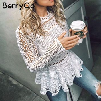 BerryGo Elegant lace peplum white blouse shirt 2018 Ruffle long sleeve fashion women blouse female Autumn winter top office lady