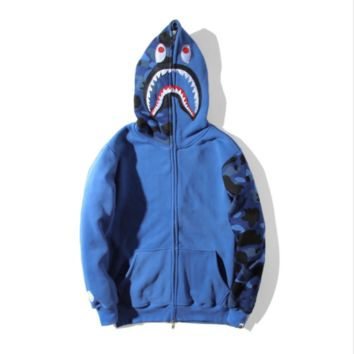 Camouflage shark sweater jacket hoodie personality ape cardigan jacket foreign trade young men and women long - sleeved