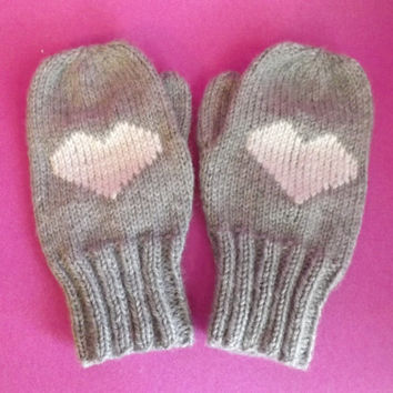 Heart Mittens - Knit Children Mittens - Mittens with Heart Motif