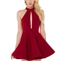 Red Halter A-Line Skater Dress