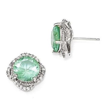 Cheryl M Sterling Silver Simulated Paraiba Tourmaline and CZ Post Earrings