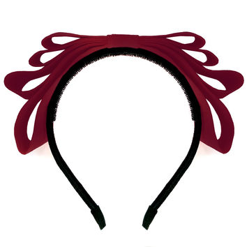 Amour Bows Flame Headband in Wine