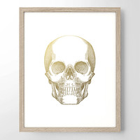 Human Skull Gold Foil Art Print - Vintage Engraving - Minimalist Art - Home Office Bathroom Decor- Housewarming Gift - Medical Human Anatomy