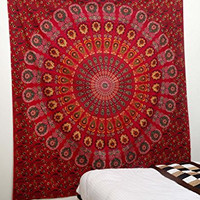 Indian Peacock Red Meditation Mandala Hippie Hippy Bohemian Tapestry + 1 Free Cushion Cover Wall Hangings Throw Cotton Bedcover Ethnic Decorative Dcor Dorm Wall Art