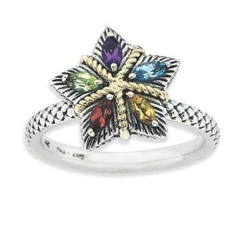 Sterling Silver & 14k Gold Stackable Expressions Gemstone Antiqued Ring