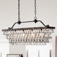 Huskar Bronze 4-Light Pendant with Crystal Shade | Overstock.com Shopping - The Best Deals on Chandeliers & Pendants