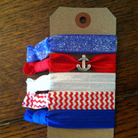 Elastic Hair Ties- Emi Jay Inspired- Nautical Anchor Red White and Blue Set- 5 Hair Ties