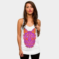 Pink Colorful Artistic Fox Racerback By Ppanda Design By Humans