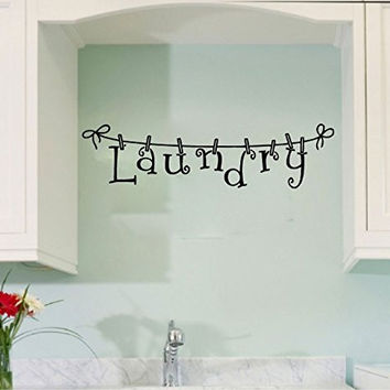 Laundry with Clothes Line and Pins Vinyl Wall Words Decal Sticker Graphic