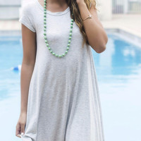 Secret Getaway Heather Gray T-Shirt Dress