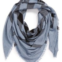 Women's Burberry Overdyed Chambray Check Square Scarf
