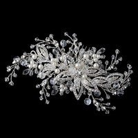 Diamond White Pearl and Crystal Floral Bridal Hair Vine Comb