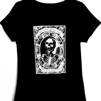 T-Shirt for woman with illustration of skull MORS,available slim fit and regular fit,black color,goth,punk,alternative,macabre,art,occultism