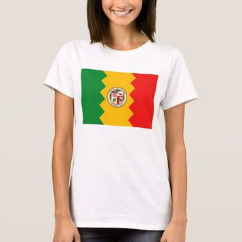 Women T Shirt with Flag of Los Angeles, California