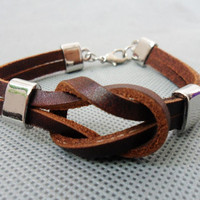 brown 2 leathers and stainless steel leather