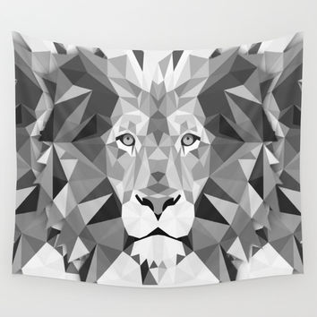 Large Silver Lion Head Wall Tapestry by Leatherwood Design