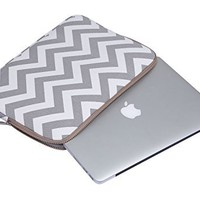 Mosiso Chevron Style Canvas Fabric Laptop Sleeve Case Bag Cover for 15-15.6 Inch MacBook Pro, Notebook Computer with a Small Case, Gray