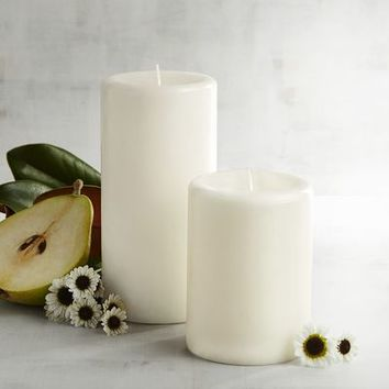 Magnolia Blooms Mottled Pillar Candles