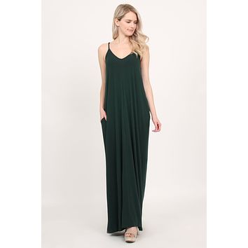 V-Neck Pocket Maxi Dress