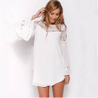 White Long Sleeve Dress with Lace Detail