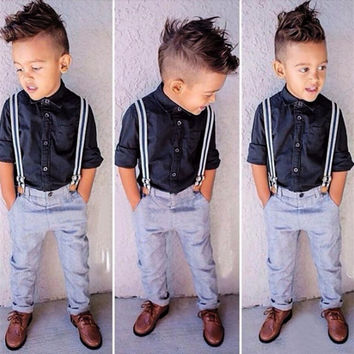 iEFiEL 3PCS Handsome Gentleman Baby Boys Long Sleeve Blouse T-shirt + Suspender Pants + Straps Outfit Sets Kids Casual Clothing