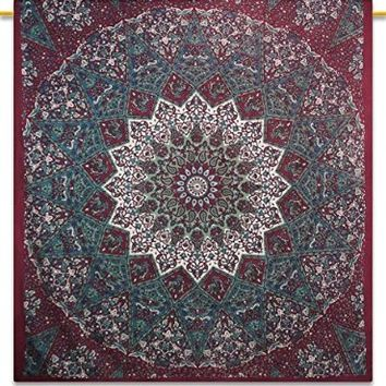 "Mandala Indian Tapestry Picnic Blanket Hippie Bohemian Full Size Tapestries 92"" X 82"""